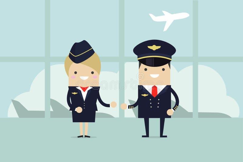 De professionele leden van de luchtvaartbemanning Bemanning van burgerlijk vliegtuig in het luchthavengebouw royalty-vrije illustratie