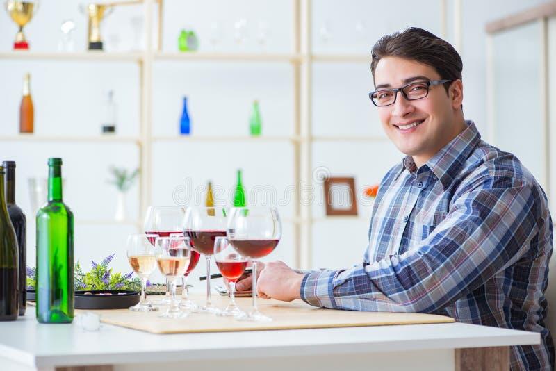 De professionele meer sommelier proevende rode wijn royalty-vrije stock afbeelding