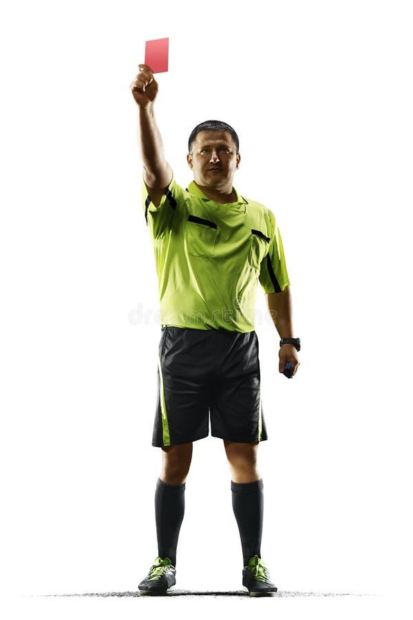 De professionele rode kaart van de voetbalscheidsrechter die op witte achtergrond wordt geïsoleerd royalty-vrije stock foto