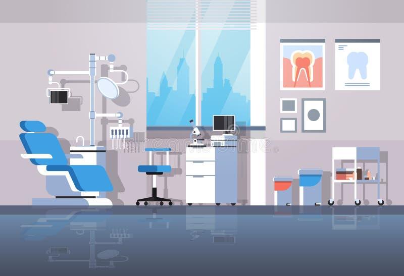 De professionele tandartsstoel en van hulpmiddelen tandroomr van het de zorgconcept van de kabinetstand van het de kliniekbureau  stock illustratie