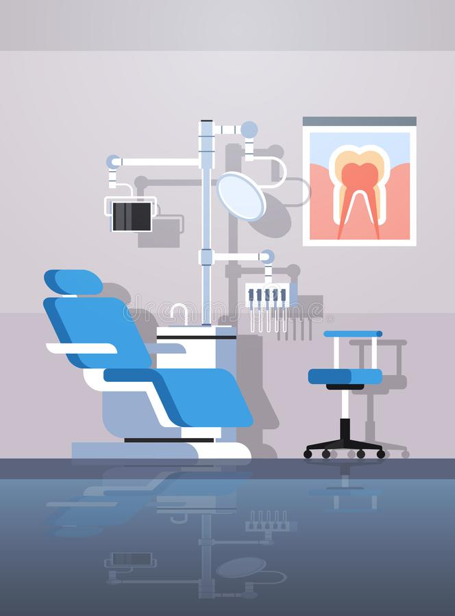 De professionele tandartsstoel en van hulpmiddelen tandroomr van het de zorgconcept van de kabinetstand van het de kliniekbureau  vector illustratie