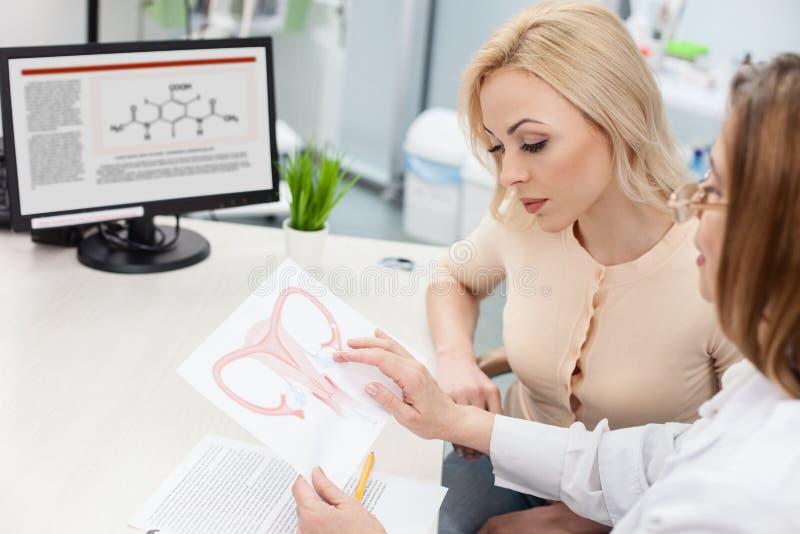 De professionele vrouwelijke arts raadpleegt blonde dame royalty-vrije stock fotografie