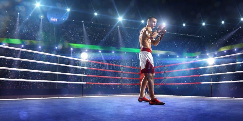De Professionlbokser bevindt zich op de ring stock foto