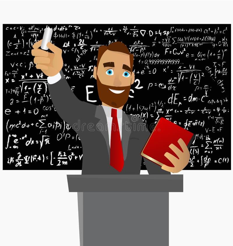 De professor van Fysica en Wiskunde leidt wetenschappelijke lezingen en schrijft formules op een bord met krijt stock illustratie