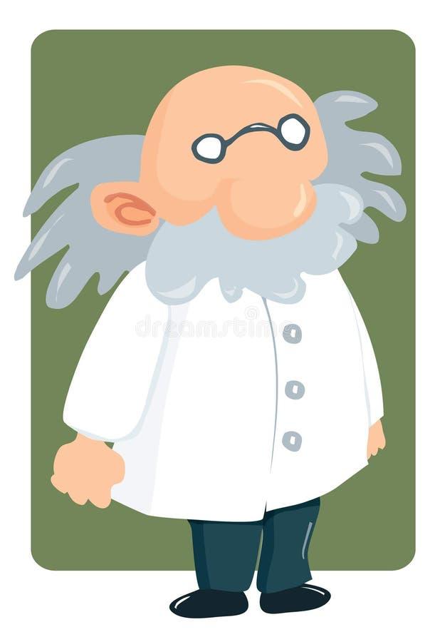De professor van het beeldverhaal in laboratoriumlaag en dichtbegroeide snor stock illustratie