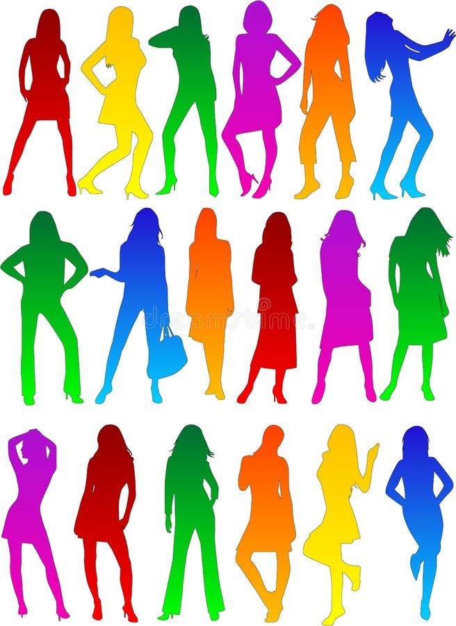 De profielen van de dame - modeshow vector illustratie