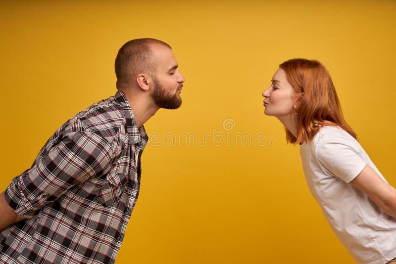 De profielfoto van jonge mooie mensen in liefde het uitdrukken houdt van en affectie terwijl het kussen van elkaar met gesloten g royalty-vrije stock foto