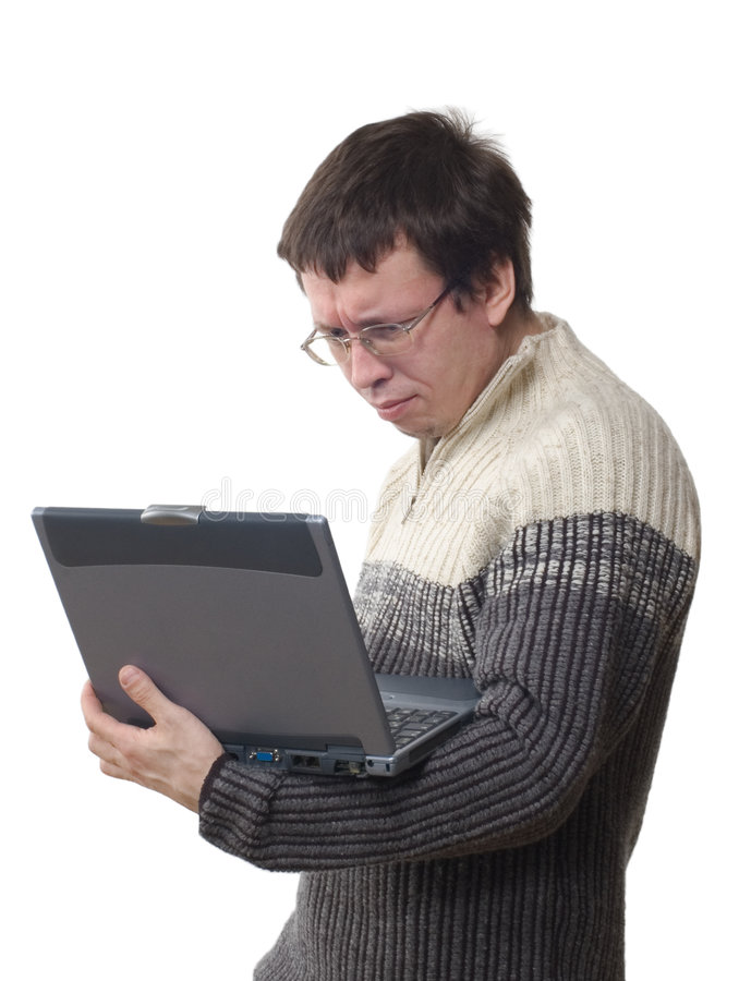 De programmeur en een computer royalty-vrije stock afbeelding