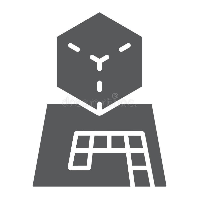 De projectie glyph pictogram van AR, gokken en futuristisch, vergroot projectieteken, vectorafbeeldingen, een stevig patroon op e royalty-vrije illustratie