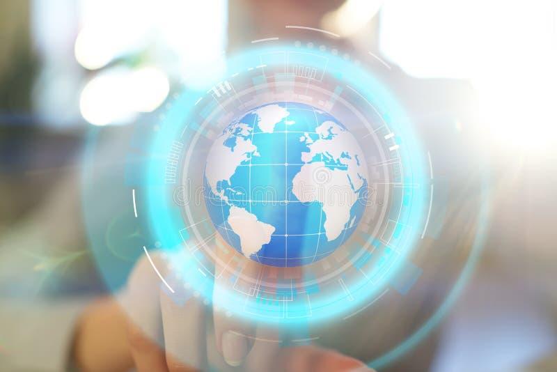 De projectie van het aardehologram op het virtuele scherm Gemengde media, Globale mededeling en internationaal bedrijfsconcept stock fotografie