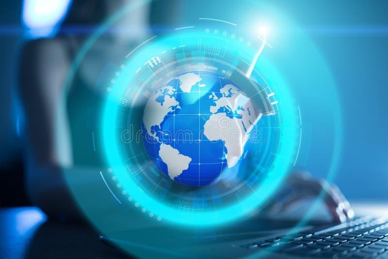 De projectie van het aardehologram op het virtuele scherm Gemengde media, Globale mededeling en internationaal bedrijfsconcept stock afbeeldingen