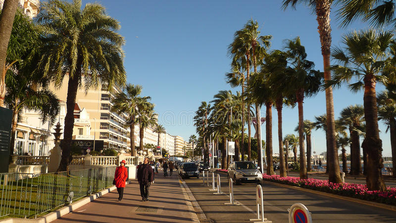 De promenade DE La croisette, Cannes, Frankrijk, Novembre, twintigste, 2013 stock foto's