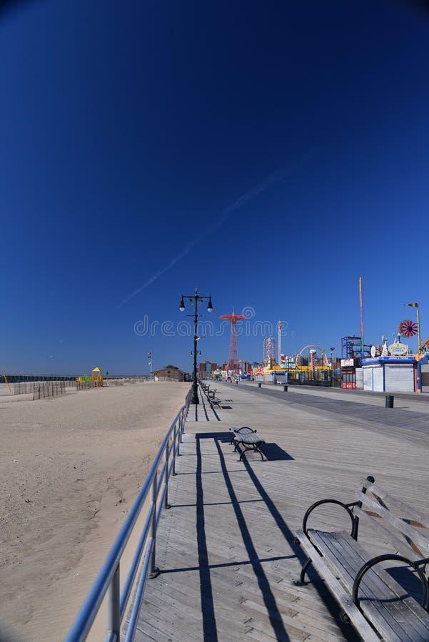 De Promenade en het Strand van Coney Island De Stad van New York, NY, de V.S. stock fotografie