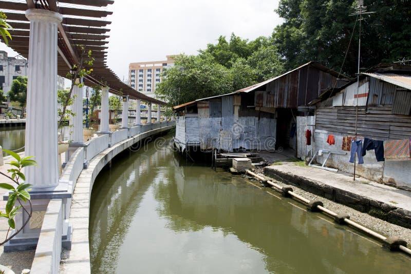 De Promenade van de de Stadsrivieroever van Malacca, Maleisië. stock foto's