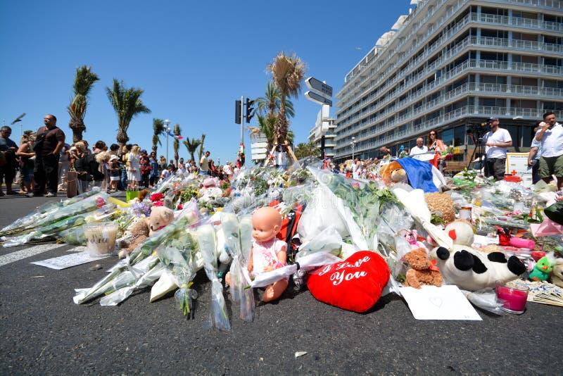 De promenade van Nice na terrorismeaanval stock afbeelding