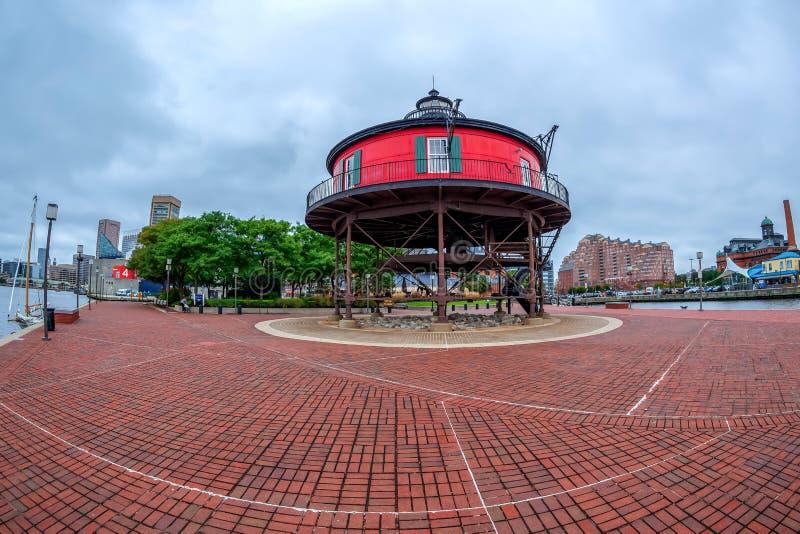 De Promenade van de waterkant bij de Binnenhaven, Baltimore, de V.S. stock foto's