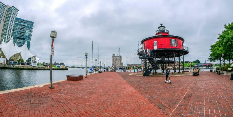 De Promenade van de waterkant bij de Binnenhaven, Baltimore, de V.S. stock fotografie
