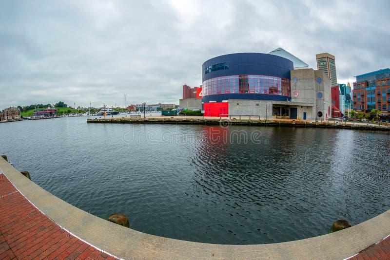 De Promenade van de Waterkant bij de Binnenhaven met grote hoekmening van Potapsco-rivier genaturaliseerd stock foto's