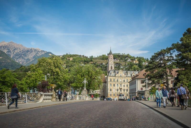 De promenades van Merano, Zuid-Tirol, Italië stock afbeeldingen