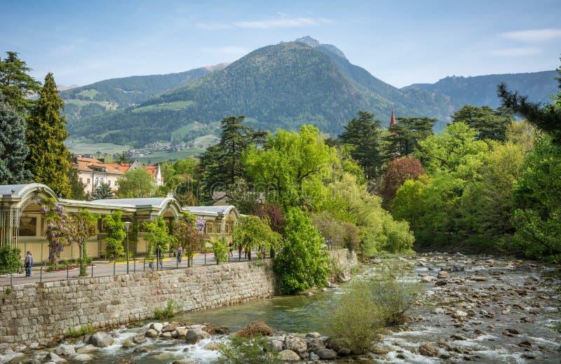 De promenades van Merano, Zuid-Tirol, Italië stock afbeelding