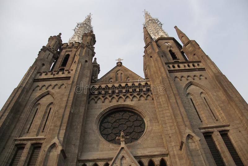 De prominentste Katholieke kerk in Djakarta, Indonesië royalty-vrije stock foto