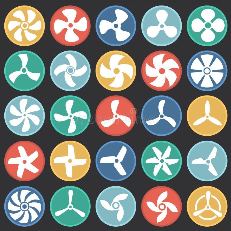 De propellerpictogrammen op kleur worden geplaatst omcirkelt zwarte achtergrond voor grafisch en Webontwerp dat Eenvoudig vectort stock illustratie