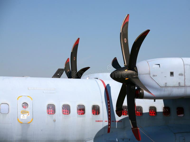 De propellers van het vliegtuig stock afbeeldingen