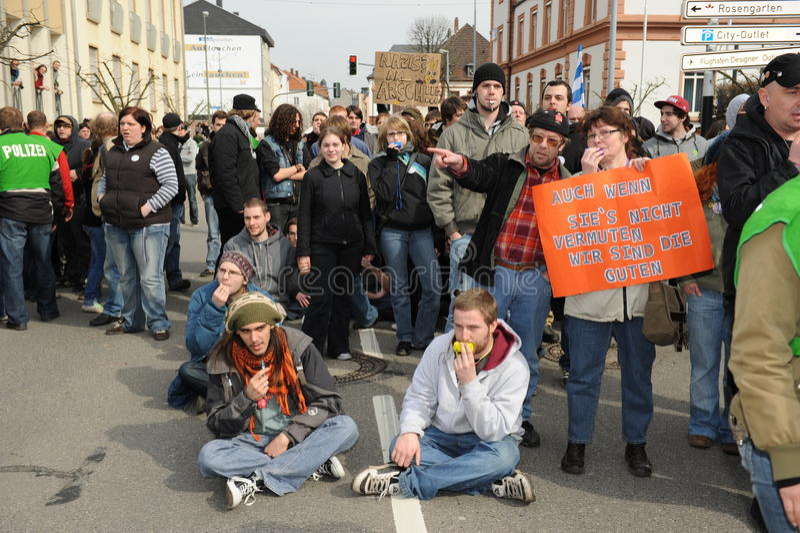 De protesteerder ving door Politie royalty-vrije stock foto
