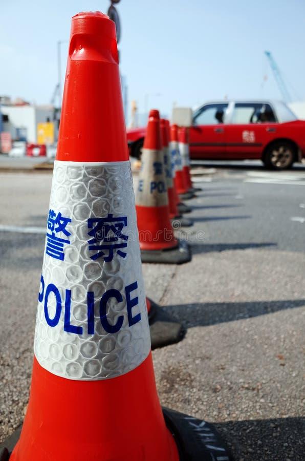 De protesteerdersafstand houden 2014 van Hongkong stock afbeeldingen