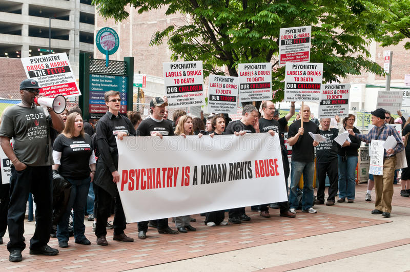 De Protesten van de anti-psychiatrie in Philadelphia, Mei 2012 stock foto's