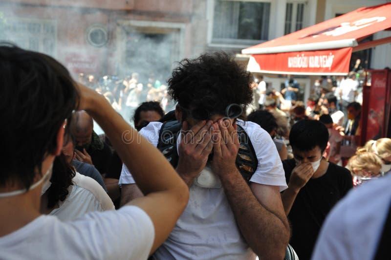 De Protesten van het Gezipark in Istanboel stock foto