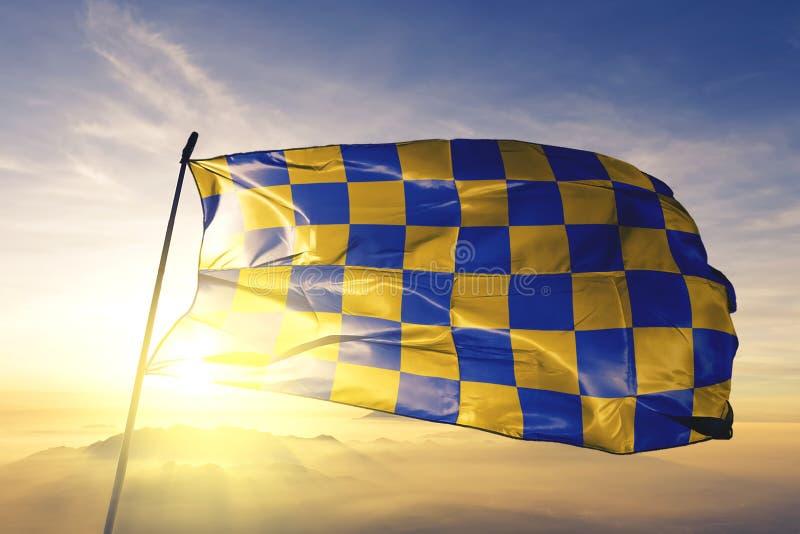 De provincie van Surrey van stof die van de de vlag de textieldoek van Engeland op de hoogste mist van de zonsopgangmist golven stock illustratie