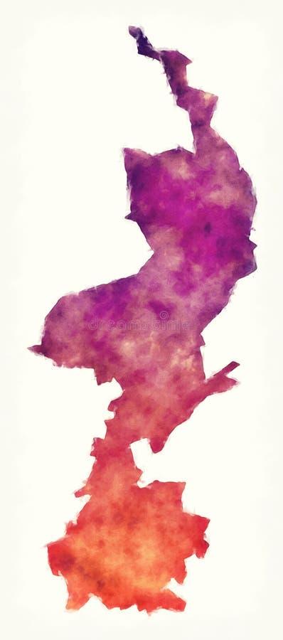 De provinciekaart van Limburg van Nederland voor een witte rug stock illustratie