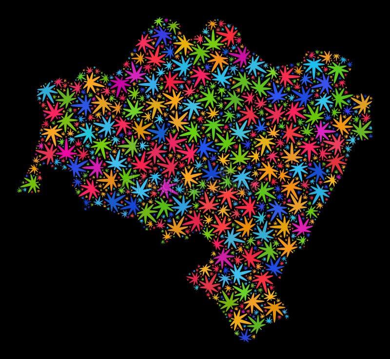 De Provinciekaart van mozaïek Lagere Silesië van Heldere Marihuanabladeren vector illustratie