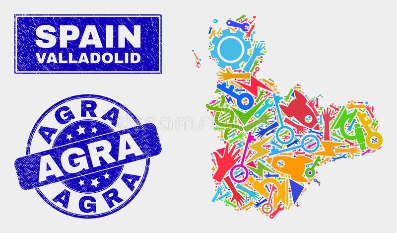 De Provinciekaart van Valladolid van collagehulpmiddelen en de Verbinding van Grunge Agra royalty-vrije illustratie