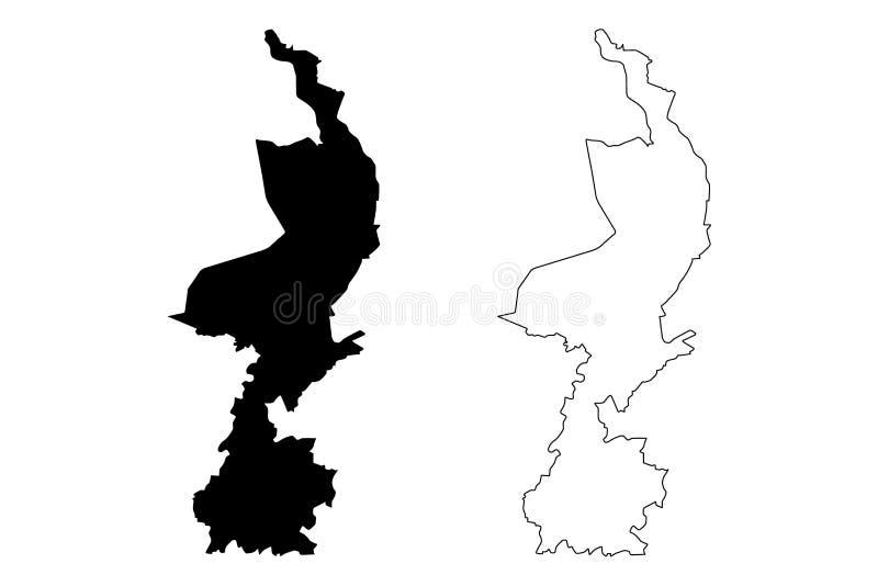 De provinciekoninkrijk van Limburg de kaart vectorillustratie van van Nederland, Holland, de kaart van Limburg van de gekrabbelsc royalty-vrije illustratie