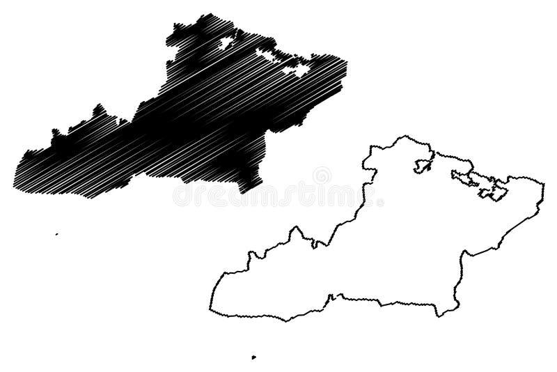 De de Provincierepubliek van Lastonijnen Cuba, Provincies van Cuba brengt vectorillustratie, de Tonijnenkaart van Las van de gekr royalty-vrije illustratie