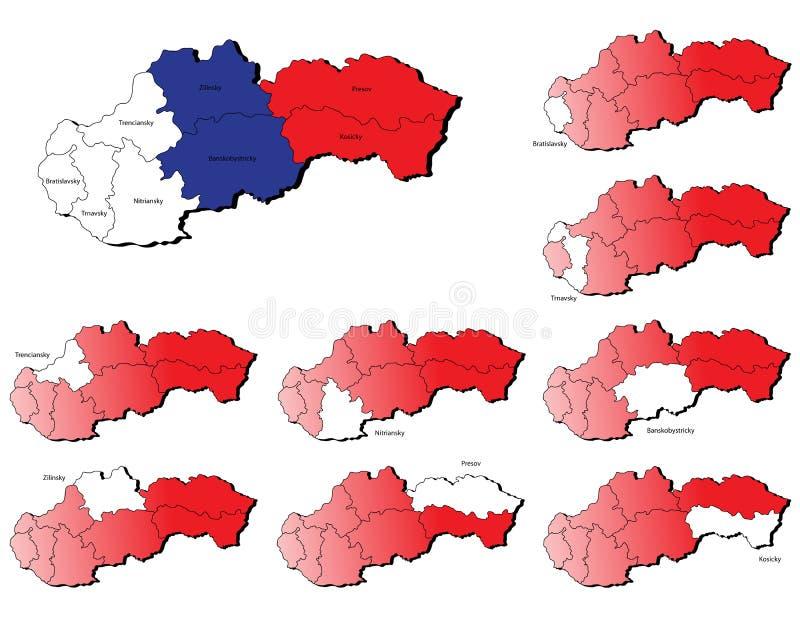 De provincieskaarten van Slowakije stock illustratie