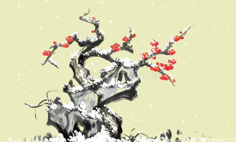 De pruimbloesem van de steensneeuw het Chinese schilderen royalty-vrije illustratie