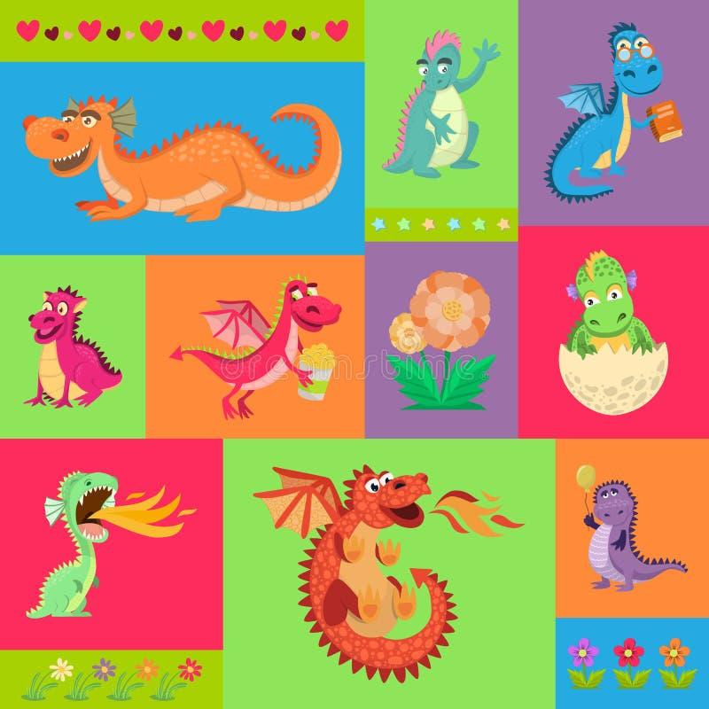De psattern vectorillustratie van babydraken Grappig beeldverhaal weinig zittende en vliegende draken met vleugels Feedinosauruss stock illustratie