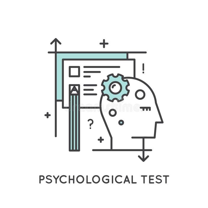 De psychologische Test, het Denken, Kennis, Meningsafbeelding, denkt buiten het doosconcept stock illustratie