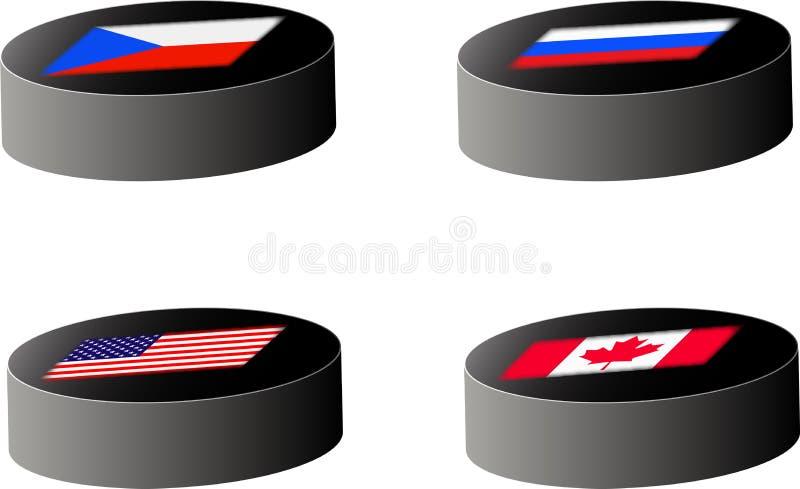 De pucks van het hockey met vlaggen vector illustratie