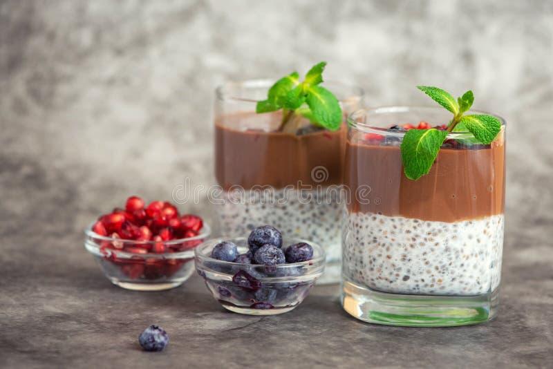 De pudding van chocoladechia in glas op grijze achtergrond Met exemplaarruimte royalty-vrije stock fotografie