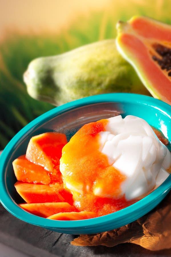 De pudding van de papaja stock foto's