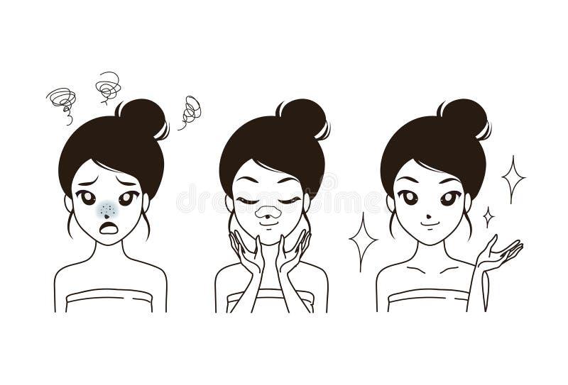 De Pukkels van de tekeningsvrouw op neus stock illustratie