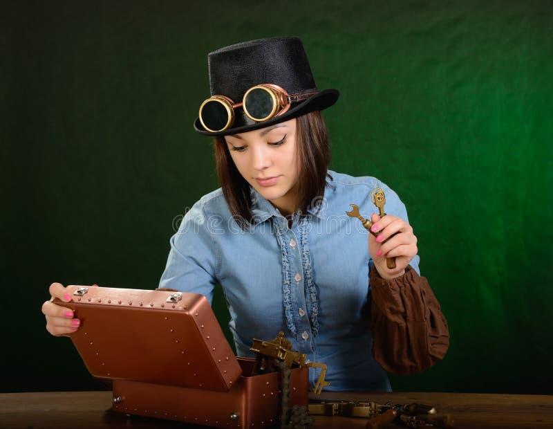 De punk meisje-werktuigkundige van de stoom royalty-vrije stock foto