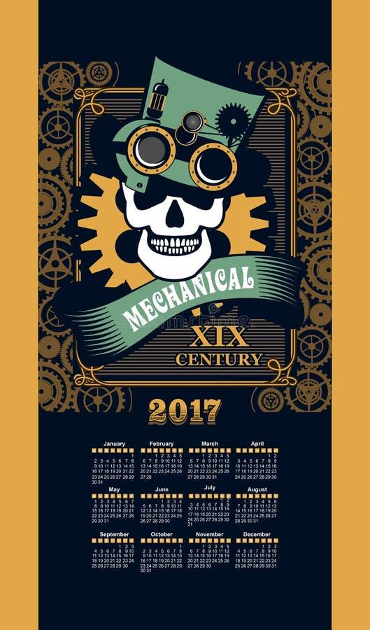 De punker van de kalender 2017 stoom royalty-vrije illustratie