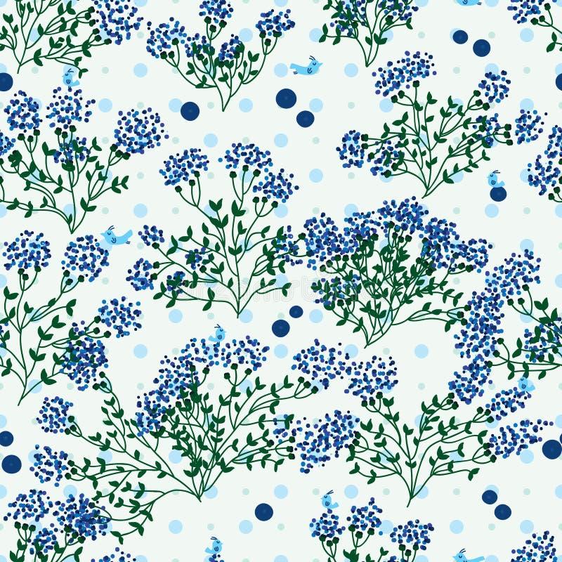 De punt naadloos patroon van het bosbessen wild blad royalty-vrije illustratie