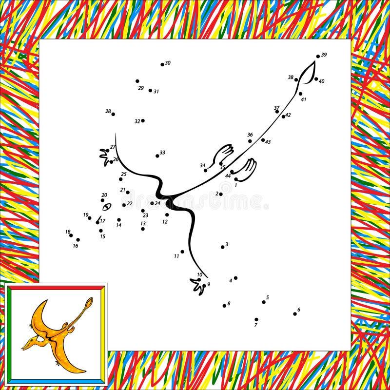 De punt van de beeldverhaalpterodactylus aan punt royalty-vrije illustratie