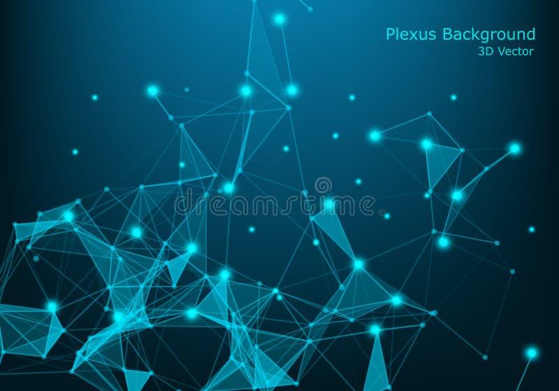 De punten en de lijnen van de netwerkverbinding De achtergrond van de technologie vlecht Grote Gegevensachtergrond Illustratie royalty-vrije stock afbeelding